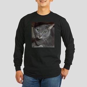 Gray Cat Russian Blue Long Sleeve Dark T-Shirt