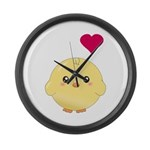 Cute Chick and Heart Large Wall Clock