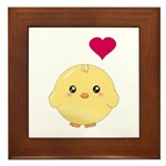 Cute Chick and Heart Framed Tile