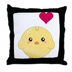 Cute Chick and Heart Throw Pillow