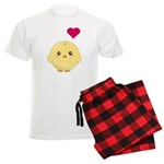 Cute Chick and Heart Men's Light Pajamas