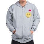 Cute Chick and Heart Zip Hoodie