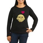 Cute Chick and Heart Women's Long Sleeve Dark T-Sh