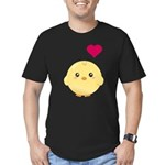 Cute Chick and Heart Men's Fitted T-Shirt (dark)