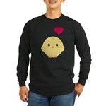 Cute Chick and Heart Long Sleeve Dark T-Shirt