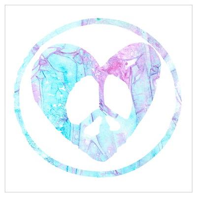 Blue Mist Peace Heart C Wall Art Poster