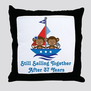 37th Anniversary Sailing Throw Pillow