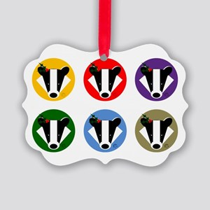 Christmas Badger Face Picture Ornament