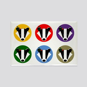 Christmas Badger Face Rectangle Magnet