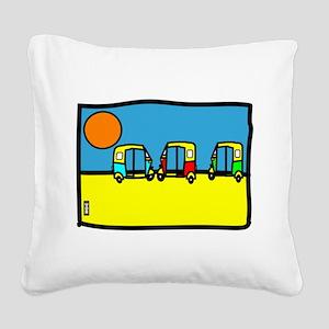 TUK TUKS ON THE BEACH Square Canvas Pillow