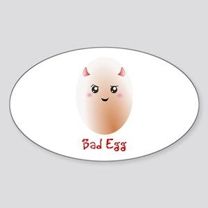 Funny Bad Egg Sticker (Oval)