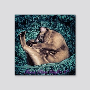 """Burmese in Teal Cat Bed Square Sticker 3"""" x 3"""""""