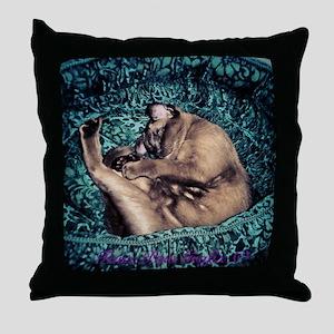 Burmese in Teal Cat Bed Throw Pillow
