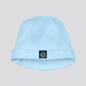 Burmese in Teal Cat Bed baby hat