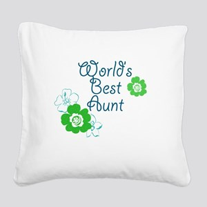 Worlds Best Aunt Square Canvas Pillow