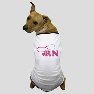 Heart RN Stethoscope Dog T-Shirt