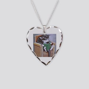Reading Cat Necklace Heart Charm