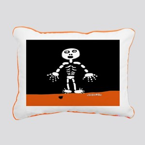 HI54AUTM Skeleton Spider Rectangular Canvas Pillow
