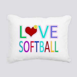 LOVE Softball Rectangular Canvas Pillow