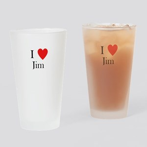 i love jim heart Drinking Glass