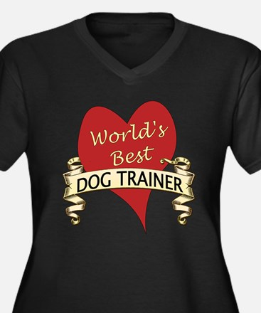 Cute Dog trainer Women's Plus Size V-Neck Dark T-Shirt