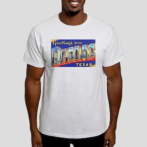 Dallas Texas Greetings (Front) Ash Grey T-Shirt