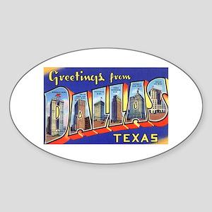 Dallas Texas Greetings Oval Sticker