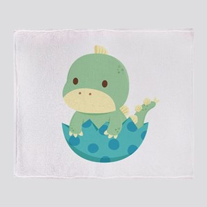Cute Green Baby Dinosaur in Egg Throw Blanket