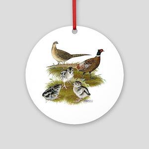 Pheasant Family Ornament (Round)
