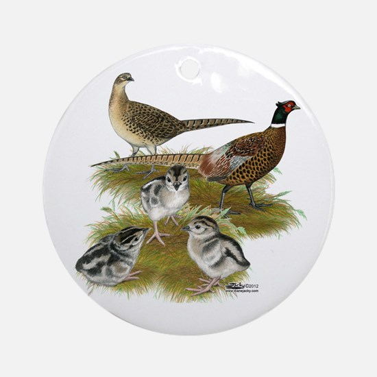 Pheasant Family Ornament (Round)