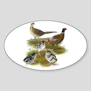 Pheasant Family Sticker (Oval)