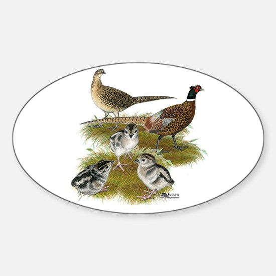 Pheasant Family Sticker (Oval)