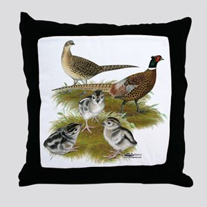 Pheasant Family Throw Pillow