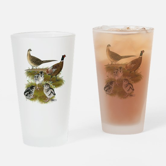 Pheasant Family Drinking Glass