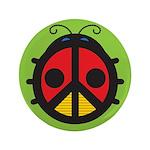 "Ladybug Peace Sign 3.5"" Button"