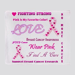 Breast Cancer Collage Throw Blanket