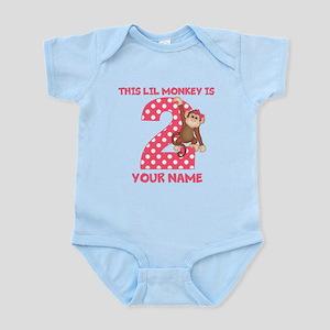 2nd Birthday Monkey Girl Infant Bodysuit