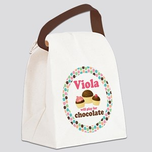 Viola Chocolate Quote Canvas Lunch Bag