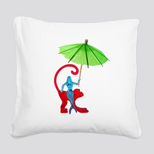 Cocktail Mermaid Monkey Square Canvas Pillow