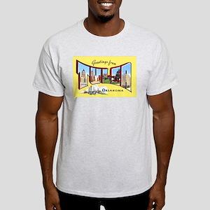 Tulsa Oklahoma Greetings (Front) Ash Grey T-Shirt