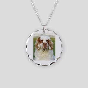 Clumber Spaniel AF015D-125 Necklace Circle Charm