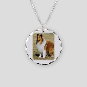Collie Rough AF036D-028 Necklace Circle Charm