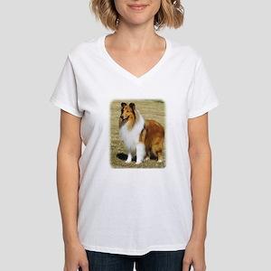 Collie Rough AF036D-028 Women's V-Neck T-Shirt