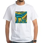 Turquoise Moon White T-Shirt