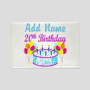 HAPPY 20TH BIRTHDAY Rectangle Magnet