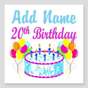 "HAPPY 20TH BIRTHDAY Square Car Magnet 3"" x 3"""