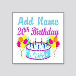 "HAPPY 20TH BIRTHDAY Square Sticker 3"" x 3"""