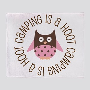 Camping Is A Hoot Throw Blanket