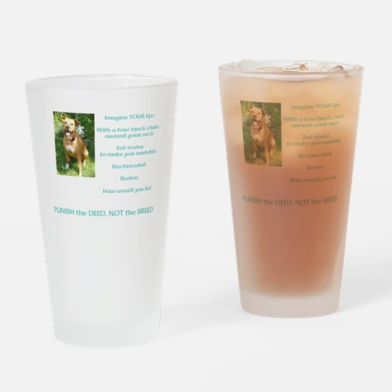 Bull Breed Education Aqua Print Drinking Glass