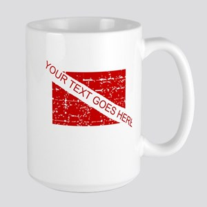 YOUR TEXT FADED DIVE FLAG Large Mug
